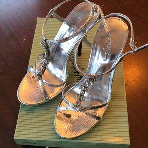 Jacqueline Ferrar fancy silver heels